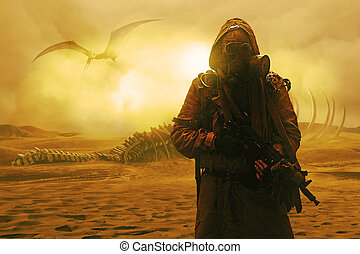 Nuclear post apocalypse. Desert and dead wasteland - Nuclear...