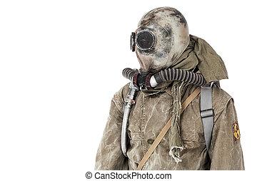 Nuclear post apocalypse. Studio shot of survivor in tatters...