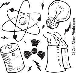 Nuclear power objects sketch - Doodle style nuclear energy...