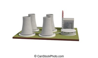 nuclear power plant 3d illustration rotating view - nuclear...