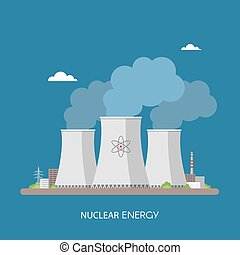 Nuclear power plant and factory. Energy industrial concept. Vector illustration in flat style. Electricity station background