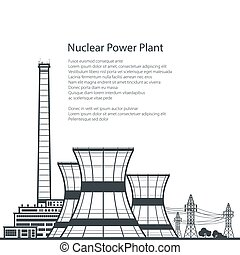 Nuclear Power Plant and Text - Silhouette Nuclear Power...