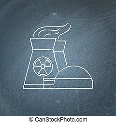 Nuclear power plant chalkboard sketch