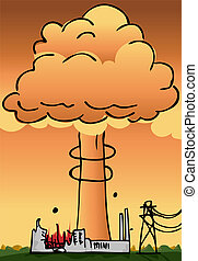 Nuclear Power Plant Disaster - Hydrogen explosion plume...