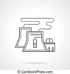Nuclear power plant flat line vector icon