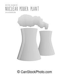 Nuclear power plant flat vector.