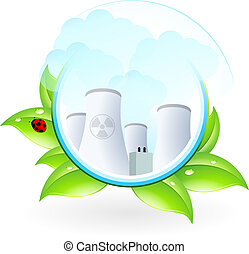 Nuclear Power Plant Icon With Leaves And Lady Vector Clipart Csp