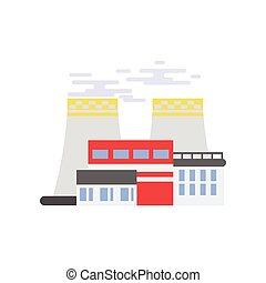 Nuclear power plant, industrial building factory vector illustration