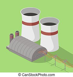 Nuclear power plant isometric vector illustration