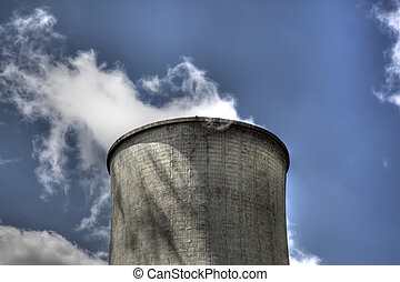 nuclear power plant - Nuclear cooling tower with emitting...