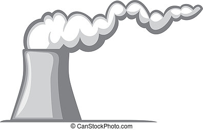nuclear power plant (nuclear power station, cooling tower with smoke)