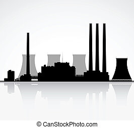 Silhouette of a nuclear power plant. Vector illustration.