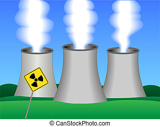 Nuclear power plant - Simple drawing of a nuclear power...