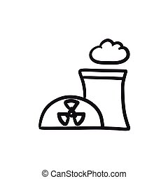Nuclear power plant sketch icon.
