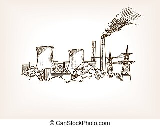 Nuclear power plant sketch vector illustration