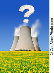 Nuclear power plant with question mark from clouds