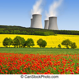 Nuclear power plant in spring landscape