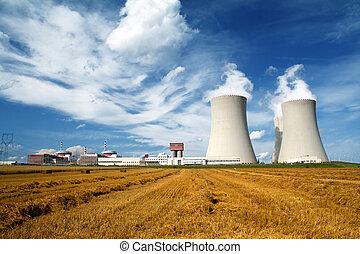 Nuclear power plant Temelin in Czech Republic Europe, cloudy...