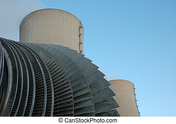 the turbine and the cooling towers of an atomic power plant