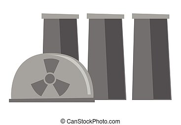 Nuclear power plant vector cartoon illustration.