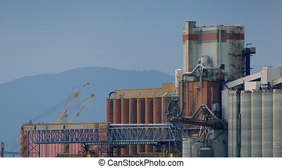 Nuclear Power Plant With Mountains - Large industrial...
