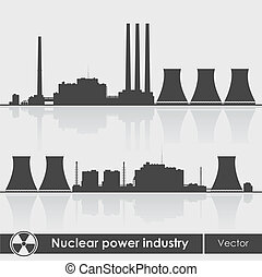 Nuclear power plants silhouette. Vector illustration. -...