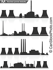 Nuclear power plants silhouettes. Vector illustration.