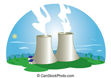 Nuclear Power Station - A nuclear power station in nature