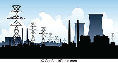 Nuclear Power Station - A skyline silhouette of a nuclear...
