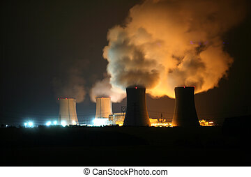 Nuclear power station at night, Dukovany, Czech Republic