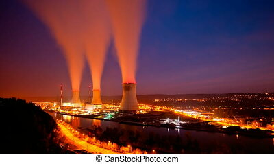Nuclear Power Station At Night - Long Exposure time lapse...