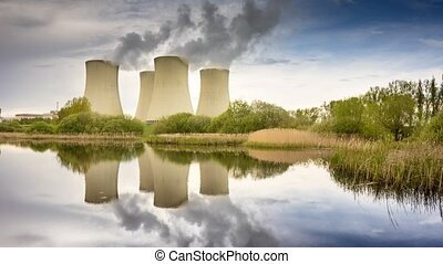 Nuclear Power Station - Nuclear power plant in the landscape...