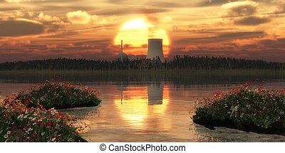 nuclear power station on an island and sunset