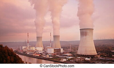 Nuclear Power Station Time Lapse - Time lapse sequence of a...