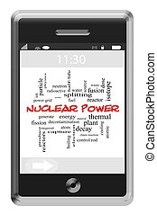 Nuclear Power Word Cloud Concept on a Touchscreen Phone
