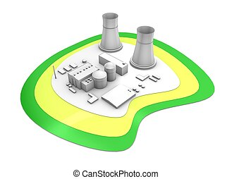3d rendering Nuclear power station, isolated on white background.