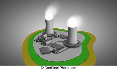 Nuclear reactor - Artist impression 3d illustration of...