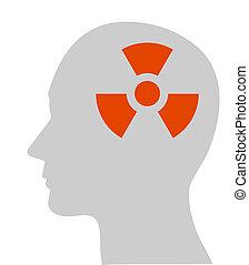 nuclear, símbolo, cabeza, humano