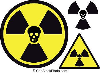 nuclear, símbolo, con, cráneo