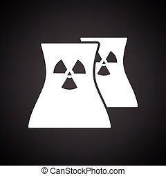 Nuclear station icon. Black background with white. Vector...