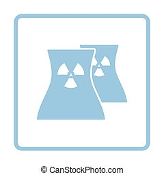 Nuclear station icon. Blue frame design. Vector...