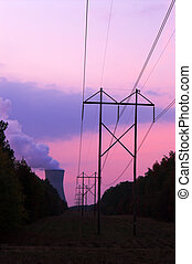 Nuclear Sunset - A functioning nuclear power plant at sunset...