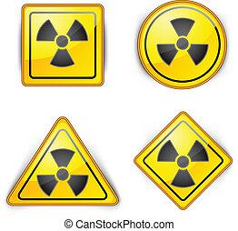 nuclear symbol, carefully dangerously, radioactive waste,...