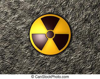 nuclear symbol on stone