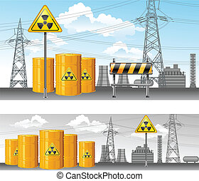 nuclear territory, radioactive waste, pollution environment, vector illustration