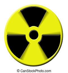 nuclear warning explosion - nuclear warning sign rotating....