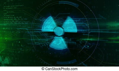 Nuclear warning symbol hologram intro on dynamic futuristic...