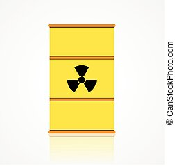 Nuclear waste barrel vector icon in flat style