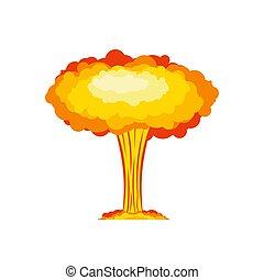 nucleare, grande, isolated., esplosione, esplosivo, chimico, mushroom., rosso, war.