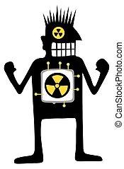 nucleare, silhouette, cartone animato, motorizzato